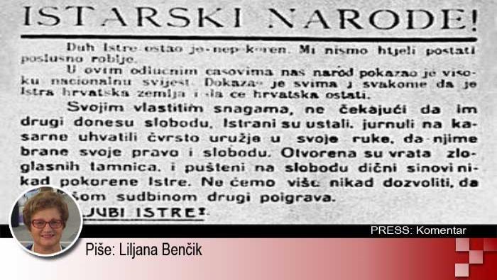 13. rujna 1943. - Proglas o priključenju Istre matici zemlji | Domoljubni portal CM | Press